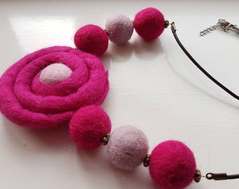 Pink felted necklace