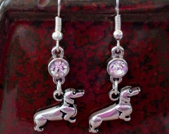 Dachshund & Rhinestone Earrings