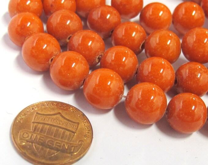 10 BEADS - Round dark pumpkin orange color  dyed jade gemstone beads 10 mm size -  GM378