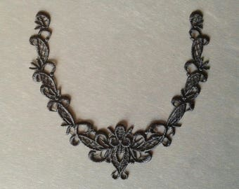 Black embroidered neckline applique