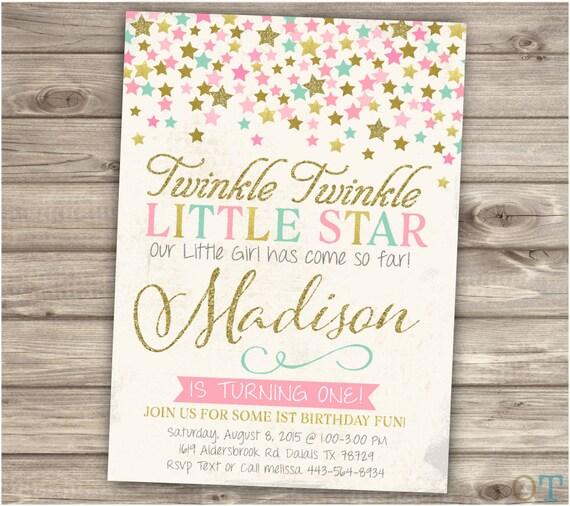 Twinkle twinkle little star birthday invitations vintage look like this item filmwisefo Image collections
