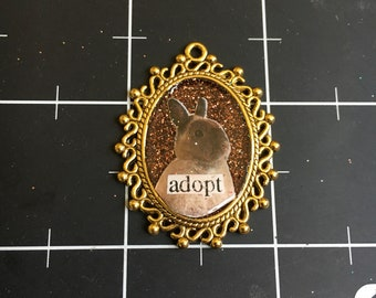 "Rabbit Cameo Pendant. ""Adopt"", Delicately Elegant Bunny Pendant, , 50% goes to the current selected animal charity"