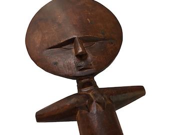 Ashanti Wood Fertility Ritual Doll Statue /  Hand Carved Akua'ba African Fertility Doll Wood Sculpture  / Ghana Fertility Wooden Ritual Doll