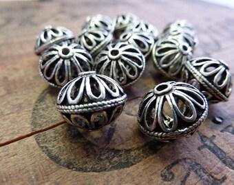 Metal Bead Ornate Bead Silver Filigree Beads 13x11mm (2) IS406