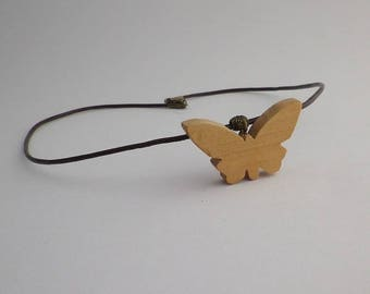 cherry wood and brown leather Butterfly pendant