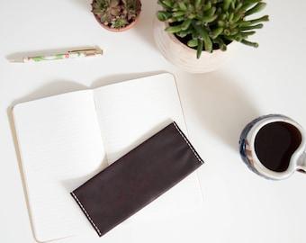 Portemonnaie aus Leder / / lange kastanienbraunen Handarbeit minimalistisches Leder dunkelbraun Damenbörse Smartphone