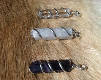 Silver Crystal Wire Wrap Necklace Pendent  quartz, moon stone, and amethyst