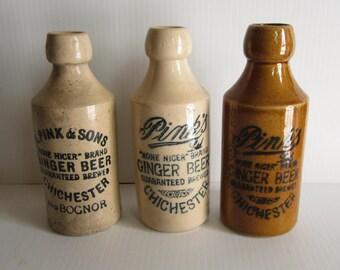Antique Pinks Ginger Beer Stoneware Bottles