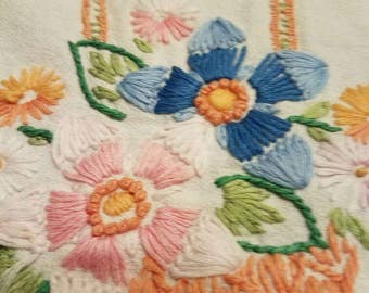 """Vintage Dresser Scarf or Table Runner Hand Embroidered Crocheted 38"""" X 16"""""""