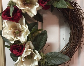 Magnolia Grapevine Wreath For Front Door-18 or 24 Inches- Roses And White Magnolias-Romantic Wreath And Decor-Mothers Day Gift For Mom