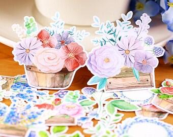 26pcs, flower Stickers, sticker flakes, Filofax, Planner Sticker, kawaii stationary, Scrapbook Sticker, journal, Sticker set