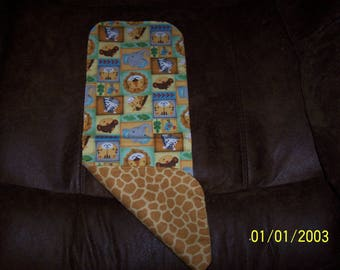 Baby's Flannel Reversible Burp Pad With Jungle Animal Print