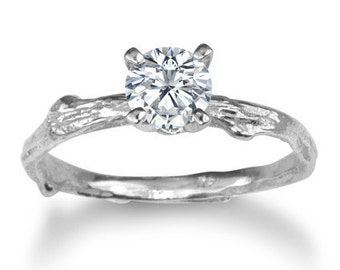 Twig engagement ring, conflict free diamond, 0.30 carat, nature inspired ring