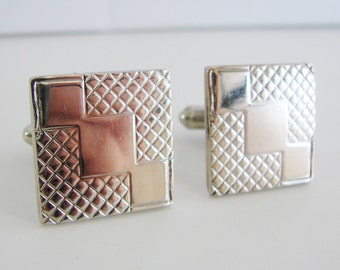 Vintage silver square cuff links (K1)