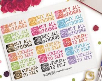 Etsy Order Planner Stickers | Treat Yo Self | Shopping | Watercolour | Online Shopping