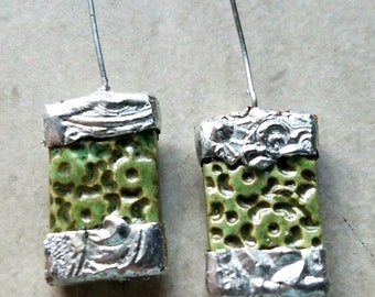 Small - Ceramic Earrings Charms Pair with Decorative Tinwork - You Choose Metal Color - #a93