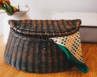 Vintage Rattan Wicker Basket with Lid Storage or Bicycle Basket