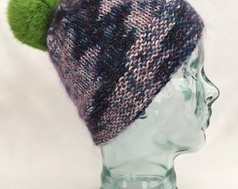 Knit Pom Pom Hat, Blue & Purple Hand Dyed Yarn, Warm Knit Hat, Hand Knit Hat, Purple Hat, Blue Hat, Green Pom Pom, Wool, Free Shipping