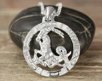 Capricorn zodiac pendant in oxidized silver
