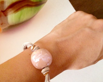 Baby pink ceramic bracelet,Eco-friendly bracelet,Pink ecofriendly bracelet, Ceramic beads,Ceramic jewellery, Ceramic jewelry,Dainty bracelet