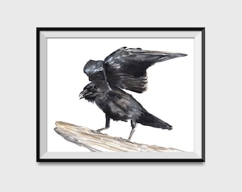 Raven Watercolor Art Print, Crow Bird Painting Wall Art Poster, Gothic Decor, Black Bird Home Decor, Northwest American Crow Ornithology W39