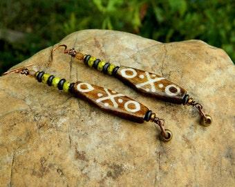Batik Bone and Green Czech Earrings
