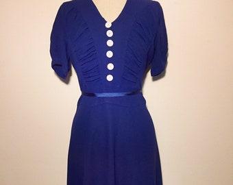 Vintage 40s Blue Crepe Dress