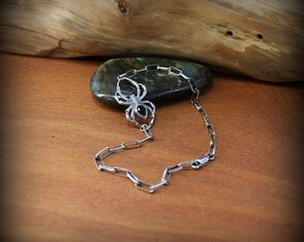 Sterling silver spider jewelry, Gothic jewelry, black spider bracelet, black widow jewelry