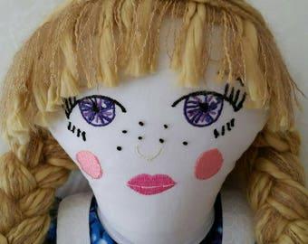 Fabric doll, cloth doll, heirloom doll, art doll, collectible doll, storybook doll, fairytale doll, handmade doll, rag doll, blond doll