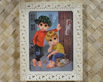 PAIR of Big Eye/Sad Eye Boys framed prints by LEE (Keane style)