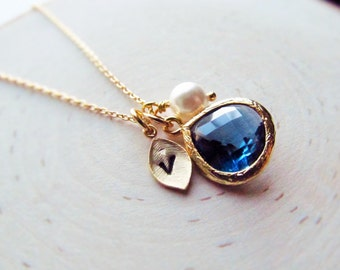 Sapphire Necklace, September Birthstone Necklace, Gold Leaf with Initial, Jewel, and Pearl, Gold Birthstone Jewelry, September Birthday Gift