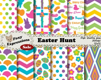 Easter Hunt Digital Paper Pack comes in bright spring colors. Designs include easter eggs, jelly beans, crosses, peeps candy, flowers & more
