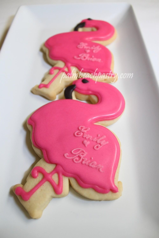 PERSONALIZED Large pink FLAMINGO Cookies favors 1 Dozen 12