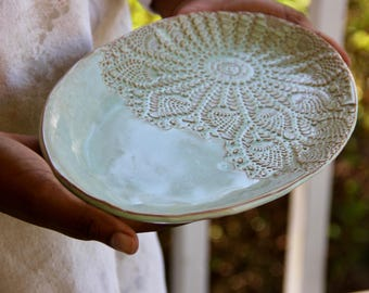 Oval Ceramic Dish, ceramic platter, handmade pottery, serveware, lace imprint, custom pottery, wedding and housewarming, ceramic plate