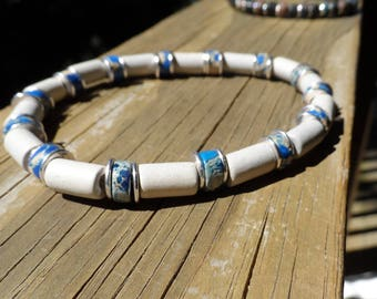 Men's Bracelet with Imperial Jasper, Ceramic Natural Tubes and Metal Spacers on Stretch Cord