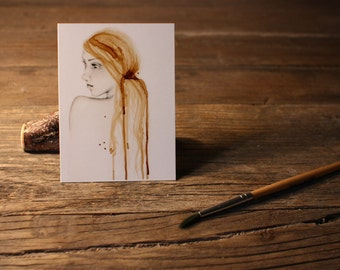 "Art ACEO Print ""So Far Away"" Fine Art ACEO Print of my original Coffee Staining Pencil Drawing Collectible Mini Artwork Gift for Her"