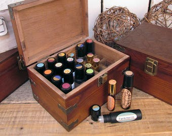 Mosaic Wood Storage Box for Roll On Essential Oil Aromatherapy Bottles by Rivertree Life