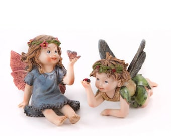 2 PC Garden Fairies, Little Girl Figurines Fairy Garden Supply, Terrarium Miniatures, Fairy Garden Gift Ideas & Garden Decorations