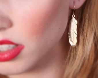 feather earrings, long feather earrings, dangle earrings feather, gold filled earrings, feather jewelry - 20072