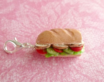 Charms Miniature Food Jewelry Submarine Sandwich Gifts for Her Polymer Clay Jewelry