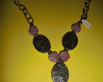 Necklace Rhodonite and nickel silver