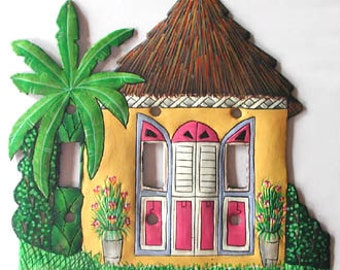 Switch Plate Covers - Switchplate - Painted metal light switch plate cover - Yellow Caribbean House - Handcrafted in Haiti - S-1027-YL-3