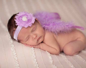 Lavender Wing Set, feather wings, wings and headband, newborn photo prop, photography, newborn photography, baby girl prop