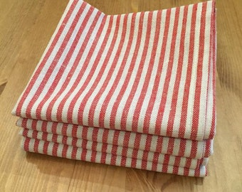 Napkins | Red and Cream Striped Linen | Dining Table | Picnics