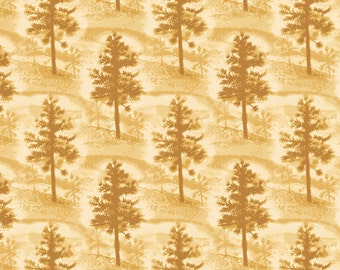 Native Pine Fabric Mini Pine Tree Tan From Quilting Treasures By the Yard