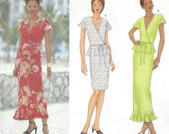 Chetta B Womens Flirty Wrap Peplum Top and Skirt in 2 Length with Flounce Butterick Sewing Pattern 6624 Size 6 8 10 Bust 30 1/2 to 32 1/2 FF