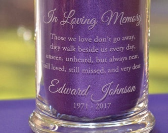 Personalized Engraved Memorial Glass Votive Candle Holder/Vase, Remembrance Sympathy Candle, Celebration of Life - Nine Different Verses