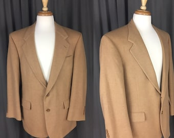 Vintage, Tan-Beige-Neutral Mens Bill Blass for Lord and Taylor Mens 100% Camel Hair, Coat/Sport coat/Jacket/Blazer