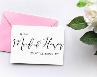 To My Maid of Honor On My Wedding Day Thank You Card, Wedding Thank You - To My Bridesmaid, Groomsmen - Bridal Party Thank You Bridesmaid