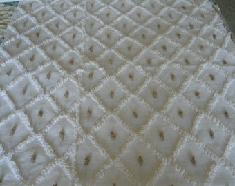 Vintage BROWN DOT on white fabric chenille bedspread LARGE piece
